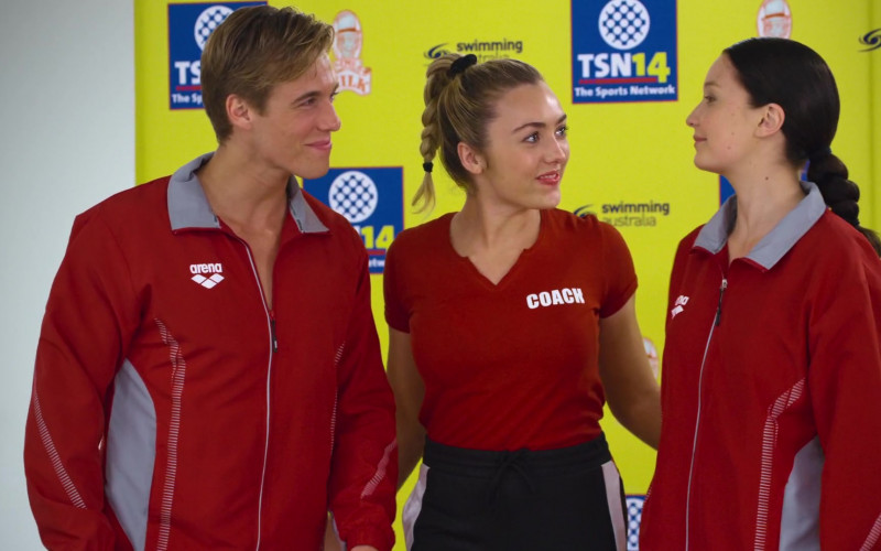 Daniel Needs Wears Arena Red Jacket Outfit in Swimming for Gold Movie (4)