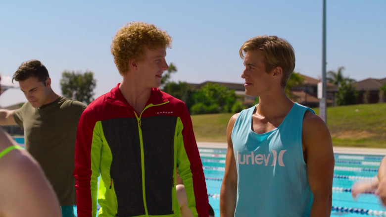 Daniel Needs Wears Hurley Green Tank Tee Outfit in Swimming for Gold 2020 Movie (1)