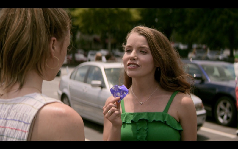 Devon Hales as April Holds Trojan Condom in Teenage Bounty Hunters TV Show (1)