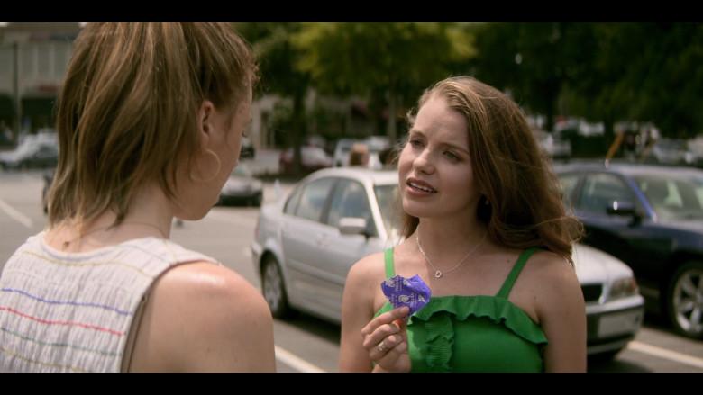 Devon Hales as April Holds Trojan Condom in Teenage Bounty Hunters TV Show (2)