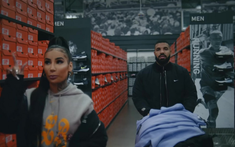Drake Wears Nike Black Bomber Jacket Outfit in Laugh Now Cry Later Music Video