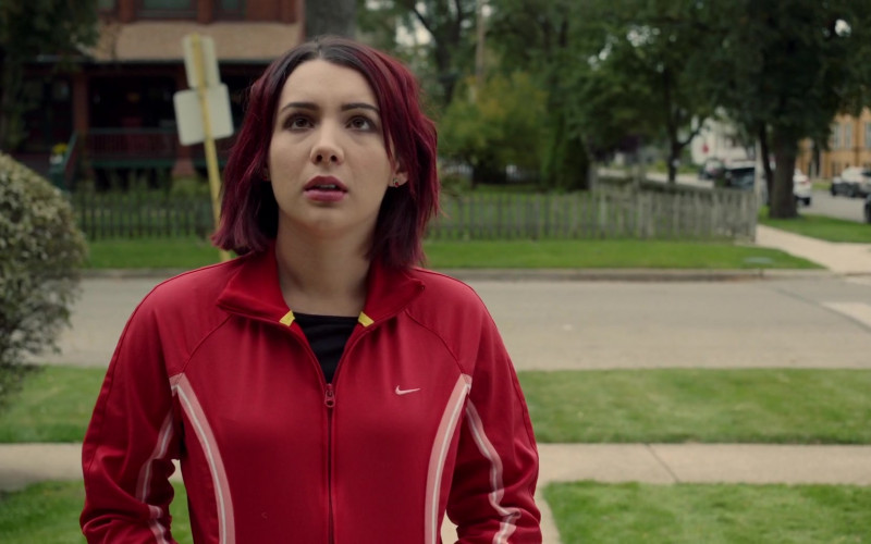 Hannah Marks Wears Nike Women's Red Jacket Outfit (1)
