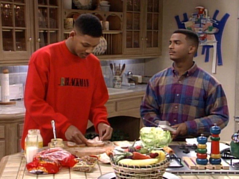 I.B. Blackman Red Sweatshirt Outfit Worn by Will Smith in The Fresh Prince of Bel-Air S03E10 TV Show (3)