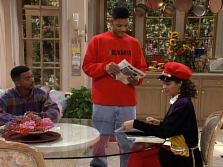 I.B. Blackman Red Sweatshirt Outfit Worn by Will Smith in The Fresh Prince of Bel-Air S03E10 TV Show (6)