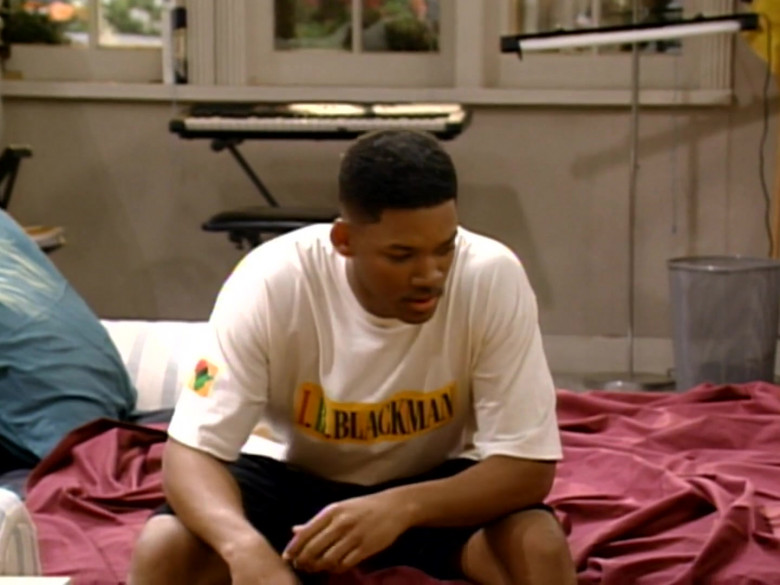 I.B. Blackman White T-Shirt Worn by Will Smith in The Fresh Prince of Bel-Air S04E23 (3)
