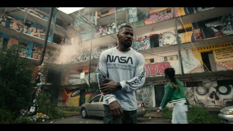 Jamie Foxx Wears Mister Tee Nasa United States White Longsleeve Top Outfit in Project Power Movie (2)
