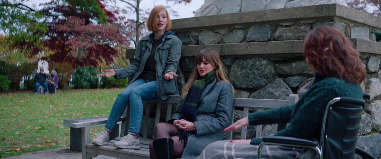 Jessica Chastain Wears Asics Onitsuka Sneakers, Army Coat Jacket and Jeans Outfit in Ava Movie (1)