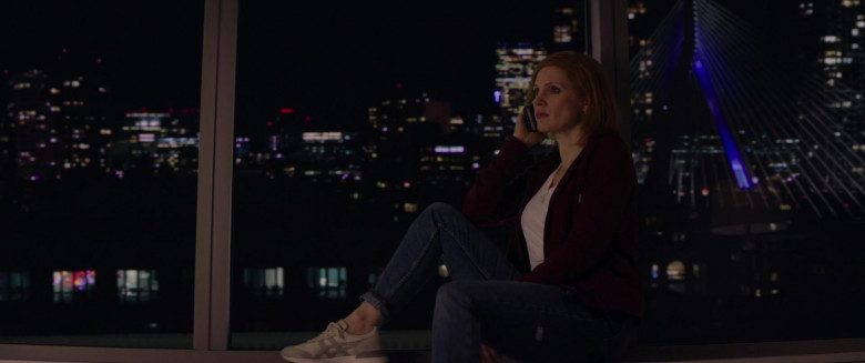 Jessica Chastain Wears Asics Onitsuka Sneakers, Army Coat Jacket and Jeans Outfit in Ava Movie (2)
