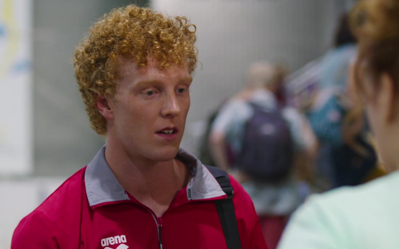 Johrel Martschinke Wears Arena Red Jacket Sports Outfit in Swimming for Gold Film