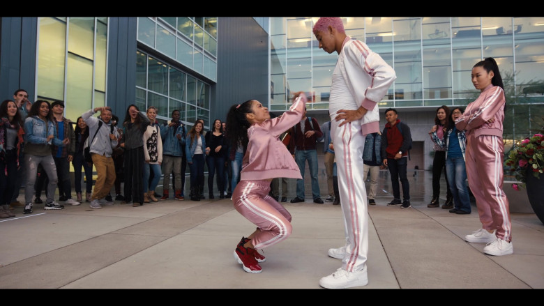 Keiynan Lonsdale Wears Nike White Shoes and Tracksuit Outfit in Work It Movie (1)