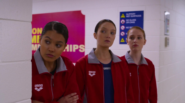 Lauren Esposito Wears Arena Red Jacket Outfit in Swimming for Gold Movie (1)