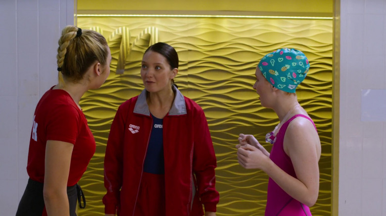 Lauren Esposito Wears Arena Red Jacket Outfit in Swimming for Gold Movie (2)