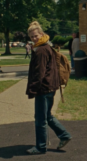 Lili Reinhart as Grace Wears Asics Shoes, Brown Jacket and Jeans Casual Outfit in Chemical Hearts Movie