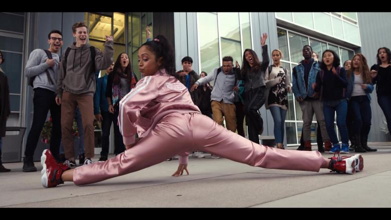 Liza Koshy Wears Nike Jordan 6 Red High Top Sneakers and Pink Tracksuit Outfit in Work It Movie (1)