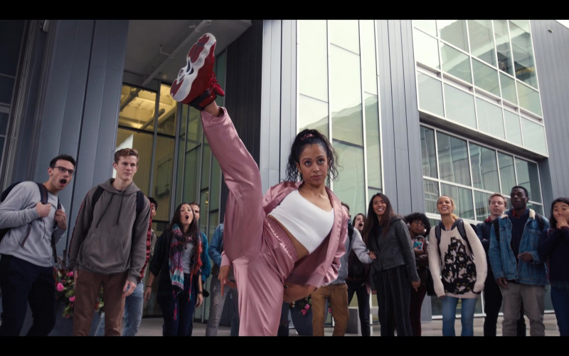 Liza Koshy Wears Nike Jordan 6 Red High Top Sneakers and Pink Tracksuit Outfit in Work It Movie (2)