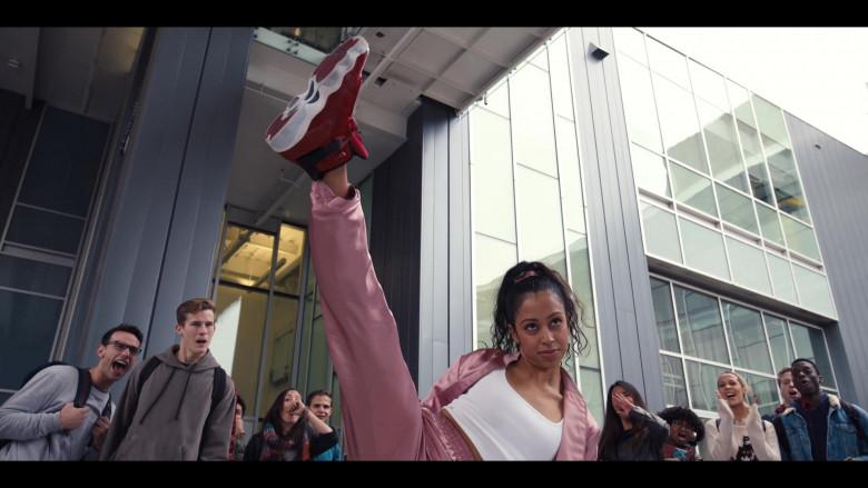Liza Koshy Wears Nike Jordan 6 Red High Top Sneakers and Pink Tracksuit Outfit in Work It Movie (3)