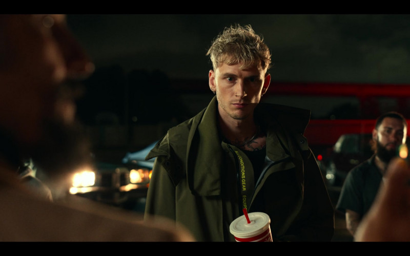 Machine Gun Kelly as Newt Wears Nike All Conditions Gear (ACG) Green Jacket Coat Outfit in Project Power Movie