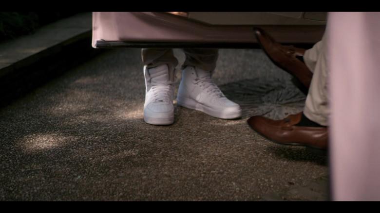 Myles Evans as Miles Taylor Wears Nike Air Force 1 High Top White Sneakers in Teenage Bounty Hunters Season 1