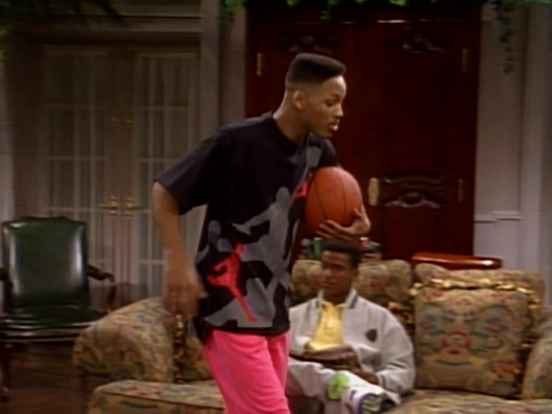 Nike Jordan Print Black T-Shirt and Pink Pants Outfit Worn by Will Smith (1)