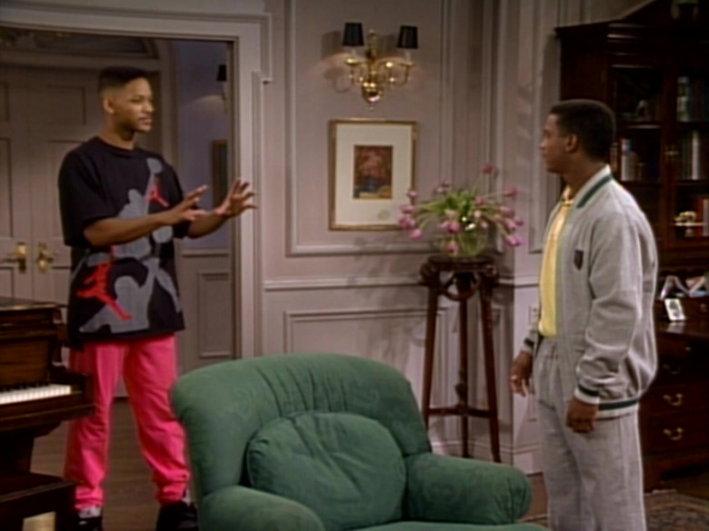 Nike Jordan Print Black T-Shirt and Pink Pants Outfit Worn by Will Smith (6)