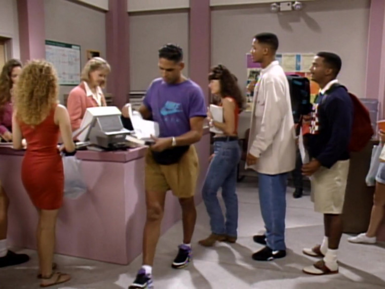 Nike Men's Purple T-Shirt in The Fresh Prince of Bel-Air S04E03