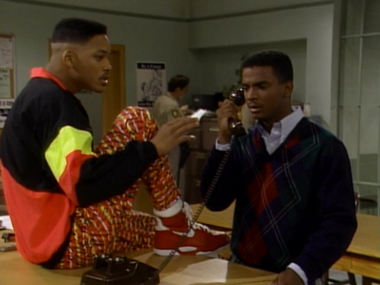 Nike Red High Top Sneakers and Colorblock Jacket of Will Smith (2)