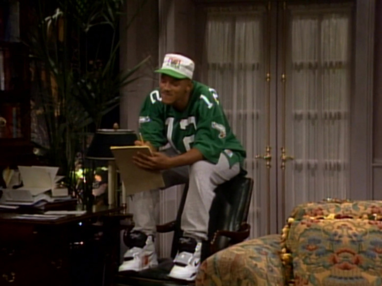 Nike Shoes and Green Jersey Fashion Outfit of Will Smith in The Fresh Prince of Bel-Air TV Show