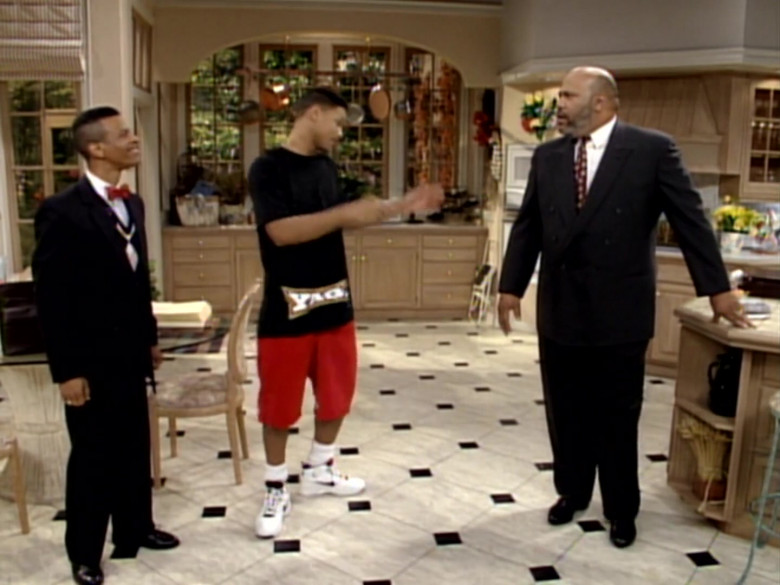 Nike White Shoes, Black Tee and Red Shorts Fashion Look of Will Smith in The Fresh Prince of Bel-Air S03E15