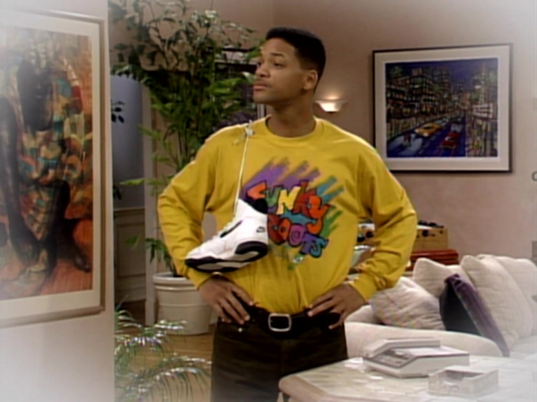 Nike White Sneakers and Yellow Sweatshirt Outfit of Will Smith in The Fresh Prince of Bel-Air S03E16 (1)