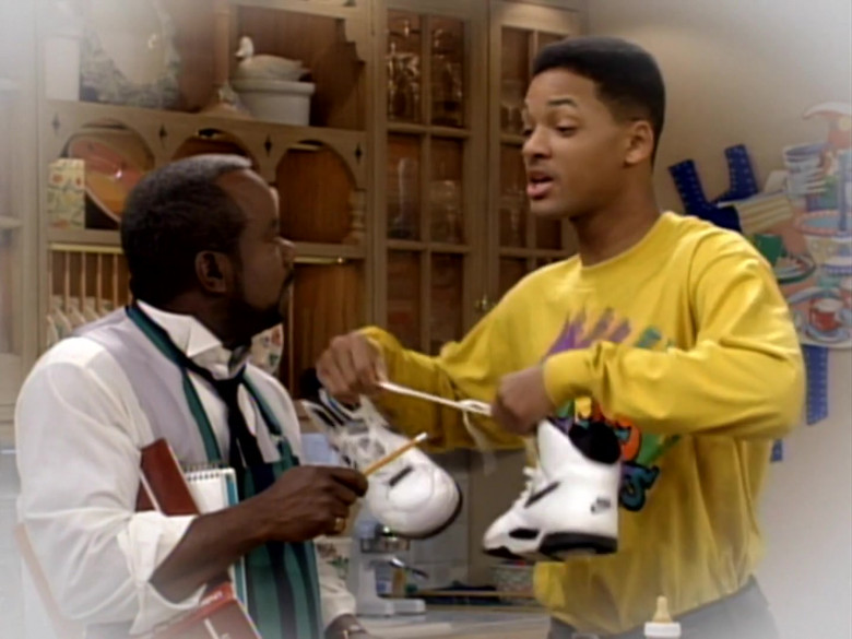 Nike White Sneakers and Yellow Sweatshirt Outfit of Will Smith in The Fresh Prince of Bel-Air S03E16 (2)