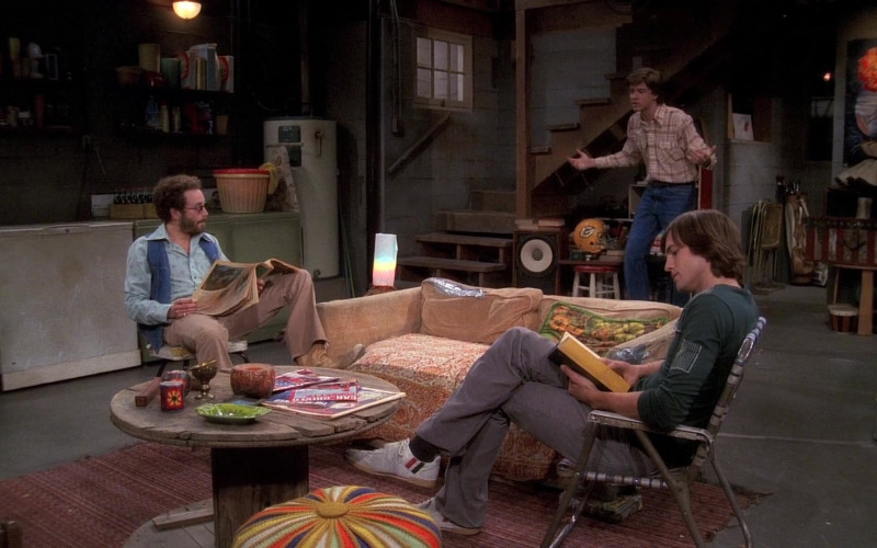 Patrick Shoes, Grey Pants and Green Long Sleeve Tee Casual Outfit of Ashton Kutcher as Michael in That '70s Show