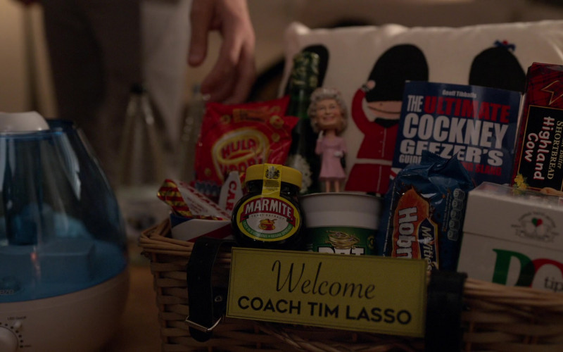Pro Breeze, Marmite Yeast Extract, Walkers Shortbread Highland Cow Carton in Ted Lasso S01E01