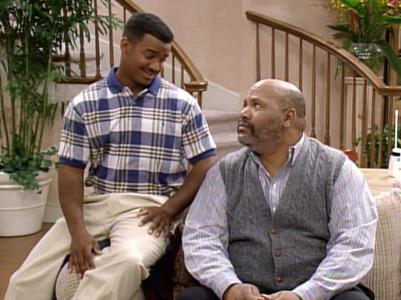 Ralph Lauren Blue Plaid Short Sleeved Shirt of Alfonso Ribeiro in The Fresh Prince of Bel-Air S04E24