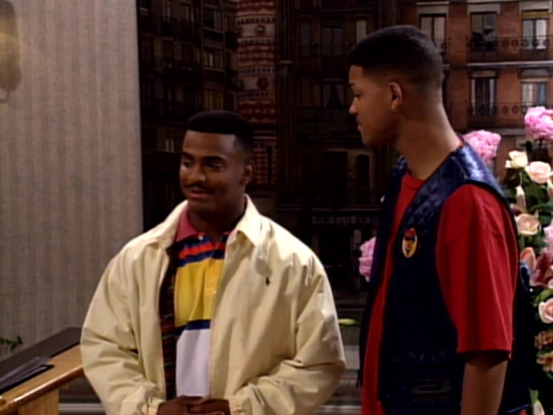 Ralph Lauren Jacket and Colorblock Shirt Outfit of Alfonso Ribeiro in The Fresh Prince of Bel-Air S03E14 (1)