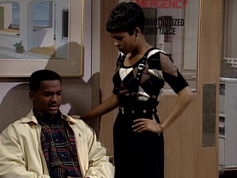 Ralph Lauren Jacket and Plaid Shirt Outfit of Alfonso Ribeiro in The Fresh Prince of Bel-Air S05E15 (3)
