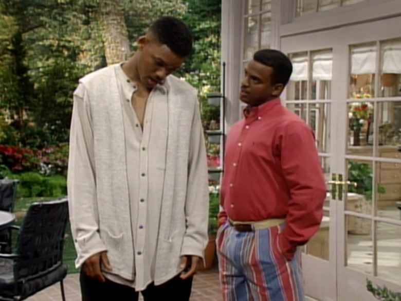 Ralph Lauren Red Long Sleeve Shirt Worn Alfonso Ribeiro as Carlton in The Fresh Prince of Bel-Air S04E22 (1)