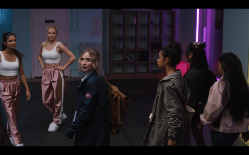 Sabrina Carpenter Wears Canada Goose Coat and Button Down Shirt Outfit in Work It Movie (1)