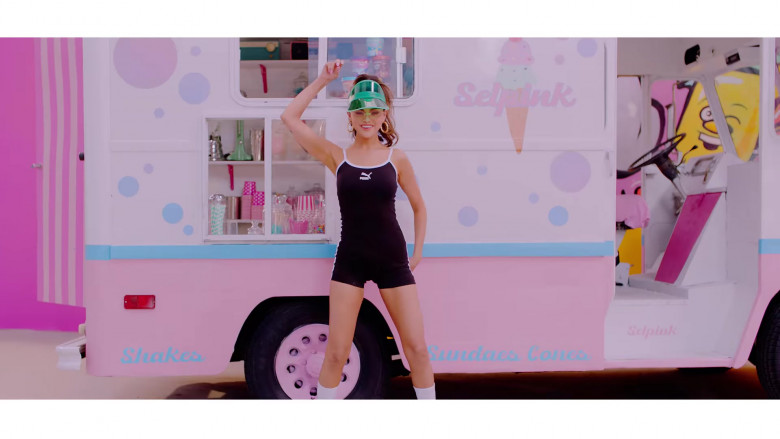 Selena Gomez Wears Puma Tank Top Romper Outfit in Ice Cream Music Video by Blackpink (4)
