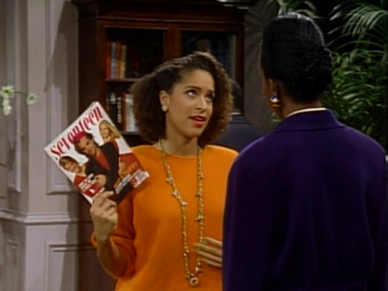 Seventeen Magazine Held by Karyn Parsons as Hilary Banks in The Fresh Prince of Bel-Air S01E22