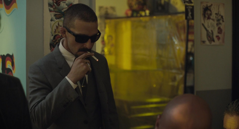 Shia LaBeouf as Creeper Wears Locs Sunglasses in The Tax Collector Movie (2)