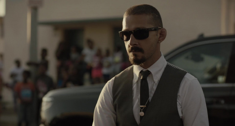 Shia LaBeouf as Creeper Wears Locs Sunglasses in The Tax Collector Movie (3)