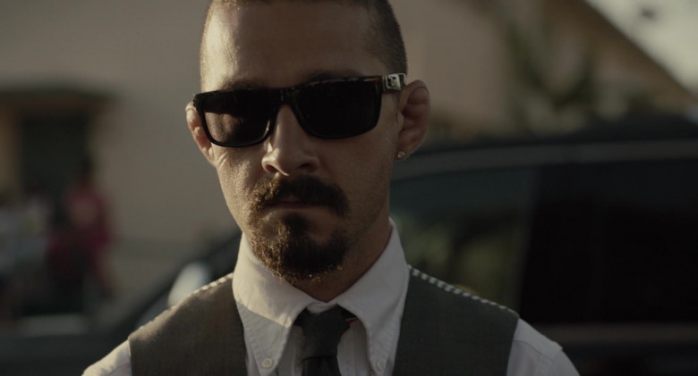 Shia LaBeouf as Creeper Wears Locs Sunglasses in The Tax Collector Movie (4)