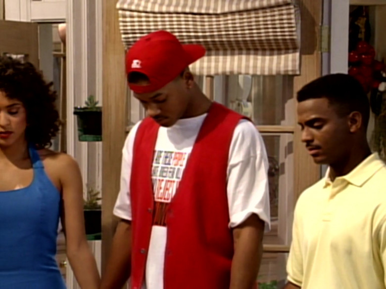 Starter Cap, Red Vest and White T-Shirt Outfit of Will Smith (1)