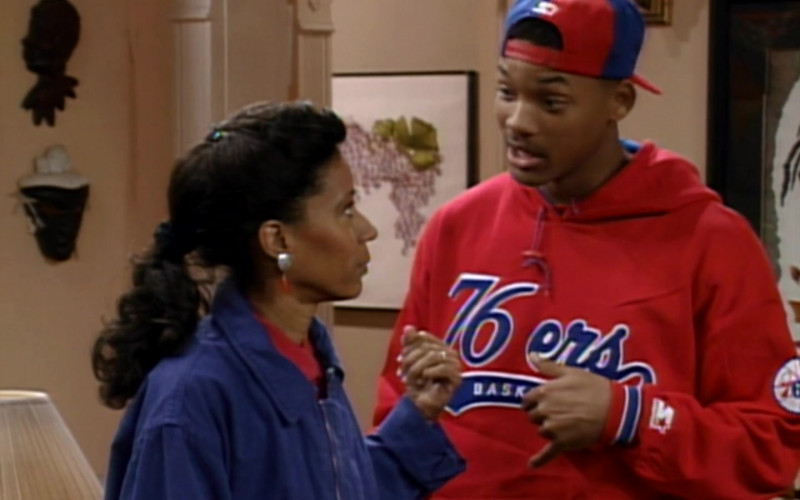 Starter Philadelphia 76ers Red Hoodie of Will Smith in The Fresh Prince of Bel-Air S04E26 (4)