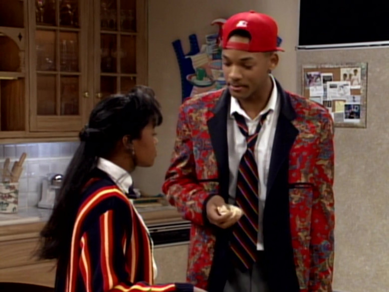 Starter Red Cap, Printed Jacket and White Shirt Outfit Worn by Will Smith (2)