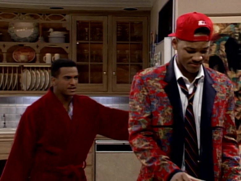 Starter Red Cap, Printed Jacket and White Shirt Outfit Worn by Will Smith (4)