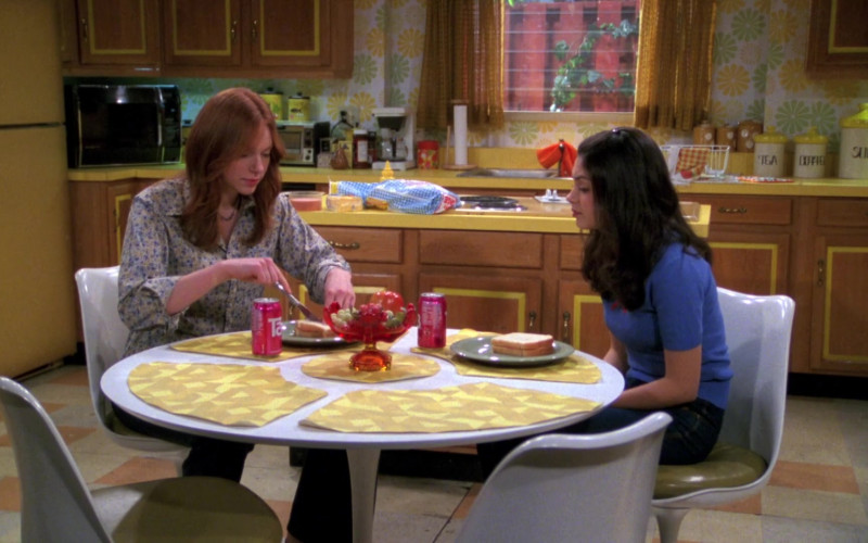 Tab Soda Cans of Mila Kunis as Jackie & Laura Prepon as Donna in That '70s Show