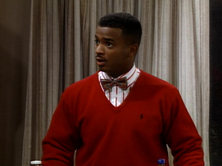 The Fresh Prince of Bel-Air S04E01 Outfits – Ralph Lauren Red V-Neck Jumper of Alfonso Ribeiro as Carlton