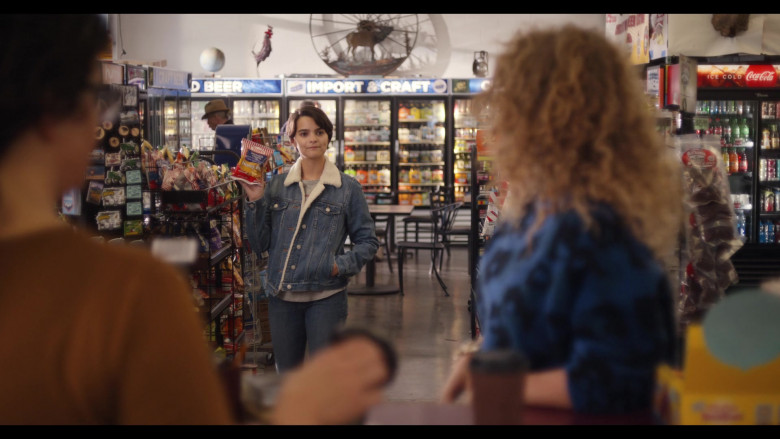 Tim's Potato Chips Held by Brianna Hildebrand as Elodie Davis and Coca-Cola Refrigerator