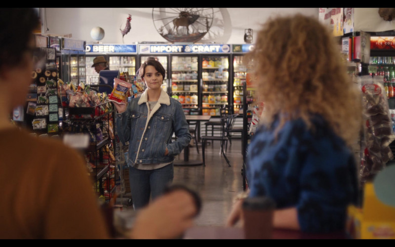 Tim's Potato Chips Held by Brianna Hildebrand as Elodie Davis and Coca-Cola Refrigerator